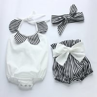 Wholesale 2016 New summer infant baby girls boutique romper shorts headband clothing set black white strips cotton romper diaper bodysuit