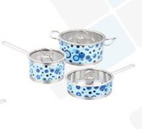 Wholesale 6pcs Design Cookware Set Family Kitchen Pots and Pan Set Tirclad Bottom Quality Stainless Steel cm Set Glass Cover