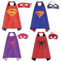 Wholesale Double side Superhero capes kids super hero capes with masks Batman Spiderman ninja turtle Halloween Cosplay Party Costume