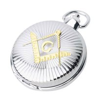 Wholesale BESTIME Watch Freemason Masonic Quartz Movement Pocket Fob Watch Chain Exquisite Silvery Full Hunter Classical Design