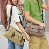 Wholesale Casual canvas messenger bag cross body bag satchels durable large capacity designer bag for retro vintage style khaki army green BZ1195