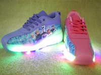 Wholesale 2016 New Led shoes FROZEN shoes Elsa Anna Disne Roller skating shoes Elsa princess shoes for girls size pairs