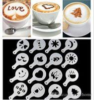 Wholesale Plastic garland mould coffee print model iron fancy coffee set Milk coffee spray flower apparatus set