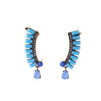 Wholesale Sky Blue Stone Bejeweled Teardrop Antique Gold Ear Cuff One Pair Punk Hip Hop Style OEM ODM