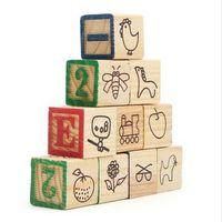 Wholesale X Parrot DIY Nonporous Letter Numbers Wooden Block Toys Each sides of building block has different content