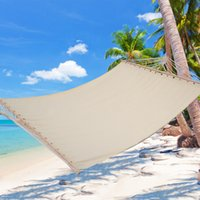 Wholesale Double Size quot x59 quot Hammock Polyester Fabric Heavy Duty Wood Spreader Bar Beige