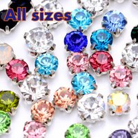 Wholesale SS16 SS50 Sew on Claw Rhinestone Silver Base Multi Mix Color Round Sew on Rhinestone in Claw for Wedding Dress Decoration B2387