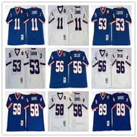 Wholesale Throwback Phil Simms Harry Carson Lawrence Taylor Carl Banks Mark Bavaro Royal Blue White TB Stitched Football Jerseys