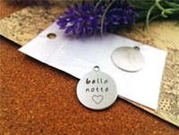 bella stainless steel - 40pcs mm stainless steel circle round quot bella notte heart quot one side DIY Charms Pendants