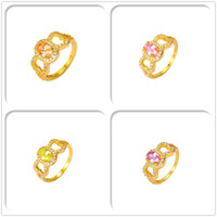 Wholesale 24K Yellow Gold Plated Rings Luxury Pink Crystal AAA CZ For Women Party Gift Fashion With Jewelry Halloween Copper Hot Sales