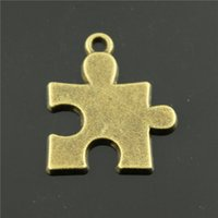 Wholesale 60pcs mm antique bronze plated puzzle piece charms