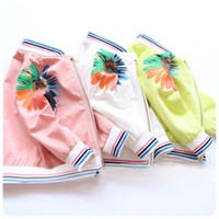 Wholesale Fall Flower Baby Girls Jacket Korean Rainbow Color Sunflowers Stripe Children Casual Coat Korean Fashion Autumn Kids Outwear Tops