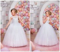 beach pictures children - Cute Ball Gowns Flower Girl Dresses For Beach Wedding With Jewel Neck Appliques Beaded Custom Made Children Communion Pageant Dress