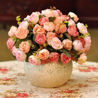Wholesale Fashion Rose Artificial Flower Decorative Flowers with Vase With