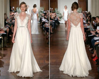 Wholesale Lace Wedding Dresses Ivory V Neck Bridal Gowns Sheer Back Long Cap Sleeve A Line Floor Length Custom Made Cheap Sash Gowns a143