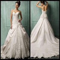 Wholesale 2016 New Empire White ivory Court Train Wedding Dress Bridal Gown Ccustom Size Vestidos De Noiva