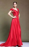 Wholesale Wedding Dresses Red Dresses V Neck dress Beaded dress Beading Ruffle Sash Floor Length Red Silk Satin Sexy Dresses