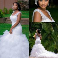 african bridal dresses - Bling Kaftan Dubai Wedding Dresses Mermaid Ruffles Backless Beaded Modest Arabic Plus Size Bridal Gowns Cheap Nigerian African bhldn