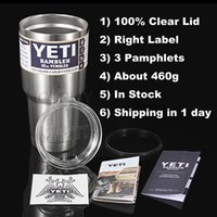 Wholesale YETI oz oz oz oz Cups Cooler Yeti Rambler Tumbler Travel Vehicle Beer Mug Double Wall Bilayer Vacuum Insulated Clear Lid