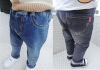 Wholesale Fashion Kids Boys and Girls Denim Jeans Babies Wash Blue Korean Pants Children s Autumn Winter Christmas Trouser