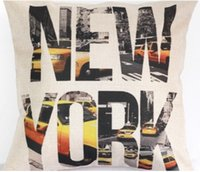 alphabet art prints - New York Modern City Of US Cotton Pillow Cover Car Pillow Case Fashion Home Decoration Decor Enhancement Pop Art Alphabet Gift