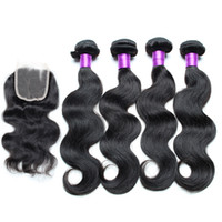 Wholesale Brazilian Hair Weaves Body Wave with Lace Closures Bundles Brazillian Body Wave Human Hair Wefts and Closure Natural Color Black Dyeable