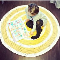 Wholesale Custom made Crochet Baby Cartoon Sunshine Blanket Kids Cotton Stripes Play mat Kids Room Decoration baby Infant Newborn Photography Props