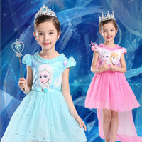 Wholesale 2 Color Girls Frozen Cinderella Lace paillette cloak Dress DHL children lovely Princess Elsa Anna Lace bowknot Short sleeve dress