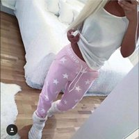 Wholesale 2016 New Loose Sport Pants Women Printed Star Casual Long Trousers High Quality Cotton Training Fashion Lady Sweatpants