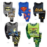 Wholesale Kids Superman Pajamas Boy Girl Long Sleeve Pajama Set Baby Batman Cartoon Sleepwear Kids Autumn Winter Cotton Pajamas Home Clothing