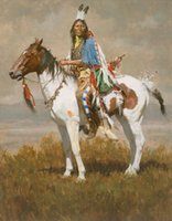 american impressionist art - Howard Terpning SPIRIT OF THE PLAINS Native American Handcraft Portrait Art oil painting on canvas In customized size
