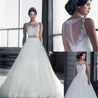 Wholesale New Arrival Designer Illusion Wedding Dress A Line Lace Appliques Bateau See Through Bridal Dresses with Detachable Crystal Beaded Belt Sash