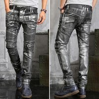 Wholesale Personality style mens paint coating balmain crushed jeans in gold silver high quality elastic long pants