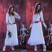 Wholesale 2016 New Halloween Skeleton Ghost White Dress Costume Bride Zombie Night DS Costumes