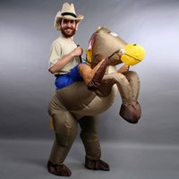 best riding horses - Best sell inflatable cowboy costume Ride on horse party costume halloween costumes for adult kids mascot