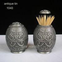 Wholesale antique embossed zinc alloy metal toothpick holder box organizer tableware home decoration