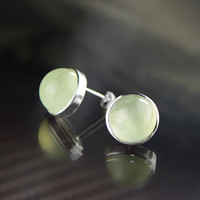 Wholesale M2ES0005 New Design High Quality Simple Round Prehnite Grapestone Inlaid Thai Sterling Silver Earring Studs
