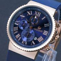 accurate silicone watch - MEGIR Sport Watch Men Accurate Travel Time Chronograph Gold Dial Blue Silicone Band Men Quartz Watches erkek kol saati MG3007