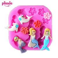 Wholesale Silicone Molds For Cake Decoration - Mermaids and dolphins silicone Fondant Mold,Fondant Cake Molds Soap Chocolate Mould For The Kitchen Baking Decoration Tool