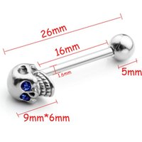 Wholesale fashion stainless steel skull Diamonds tongue rings barbell piercing langue lengua tongue bars body percing jewelry