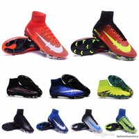 Wholesale Hot Mens High Ankle soccer cleats Mercurial Superfly V FG Football shoes for cheap Leather cr7 superflys botas de futbol Blue