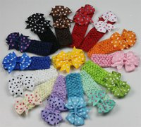 baby rib - 2016 baby flowers headband newborn dot rib bow Crochet knit headband Children s flower girls hair accessories
