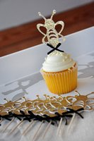 bee birthday cards - Glitter Gold Bumble Bee cupcake toppers inserts cards food picks wedding baby bridal shower Cake Accessories decorations