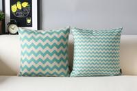 aqua pillows - beautiful aqua blue zigzags chevrons waves pattern linen cushion cover home cafe decorative throw pillow Case