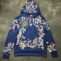 Wholesale 2016 autumn winter floral brand sweatshirt men flower birds thin hoodie cotton long sleeve shirt man pullover men s clothing