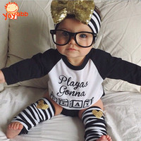 Wholesale 2016 New set Girls Clothing Set T shirt Briefs Leg Warmer Headband Summer Kids Clothes Suit Set Casual Baby Girl Clothes