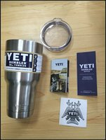Wholesale 304 Stainless Steel oz Yeti Cups Cooler YETI Rambler Tumbler Cup Vehicle Beer Mug Double Wall Bilayer Vacuum Insulated ml