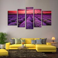 arts field - LK593 Provence Lavender Modern panels Giclee Canvas Prints Artwork Contemporary Landscape Fields Pictures Paintings on Canvas Wall Art for