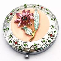 beautiful lily - Beautiful Lily Rhinestone Makeup Mirrors Cosmetic Compact Mirrors Magnify Double Side Folding Pocket Mirrors Women Make Up Accessories