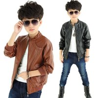 Wholesale Fashion COOL Boys Casual Thick Leather Warm Jacket Coat Autumn and winter British Style colors
